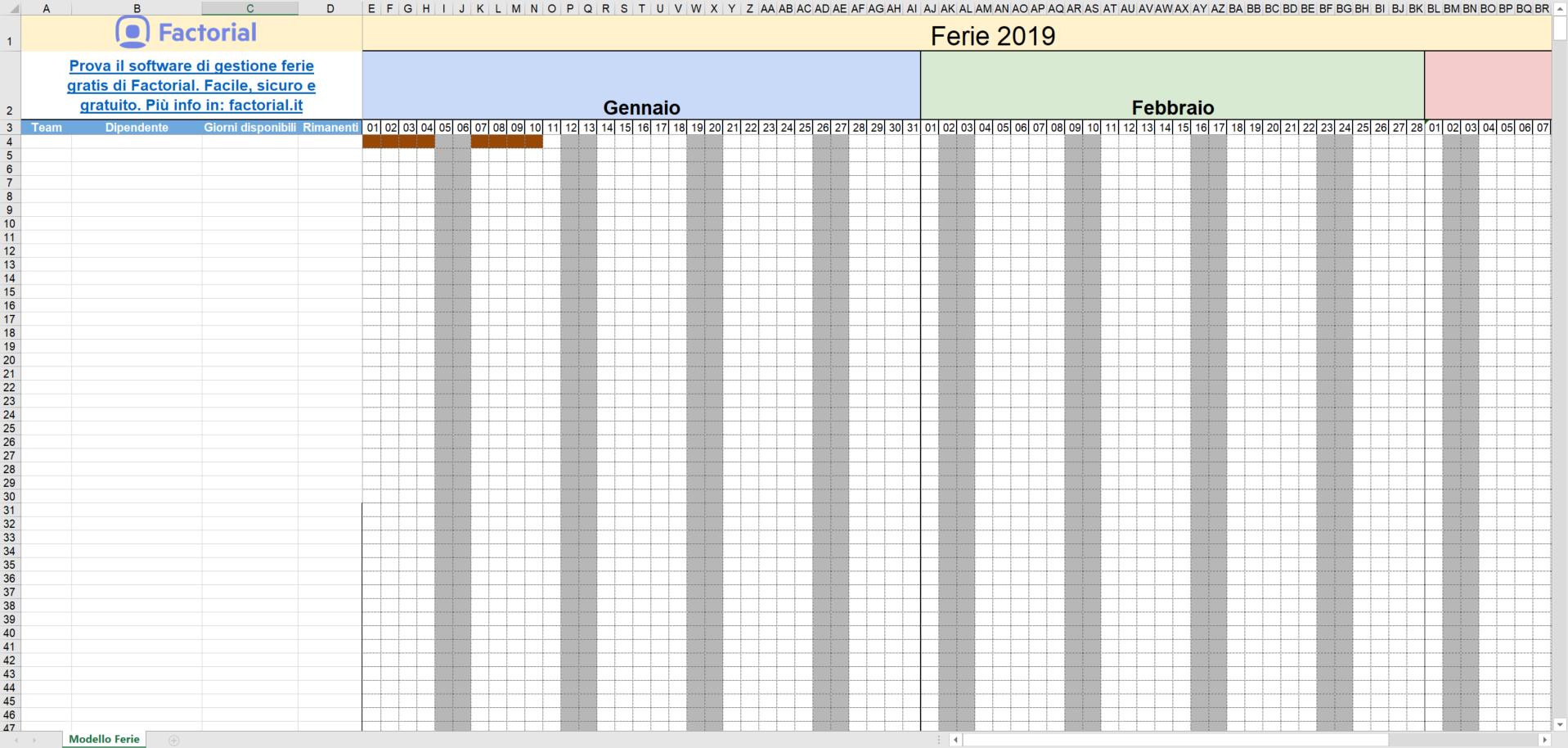 Calendario Dicembre 2019 Excel.Gestione Ferie Dei Dipendenti Con Excel Modello 2019